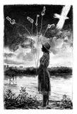 Frau im Hut nahe dem Fluss Stockfotos