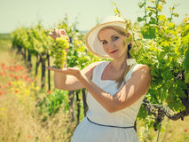 Frau im Huthändchenhalten, Bürste von grünen Trauben Stockbild