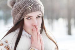 Frau im kalten sonnigen Winter Stockbilder