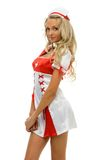 Frau im Karnevalskostüm. Krankenschwesterform Stockbilder