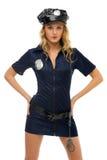 Frau im Karnevalskostüm. Polizeifrauenform Stockfoto