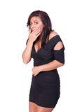 Frau im Kleid, das überrascht schaut Lizenzfreie Stockfotos