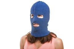 Frau im Kopfschutz Stockfoto