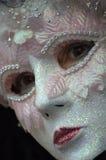 Frau im Kostüm u. in der Schablone Stockbild