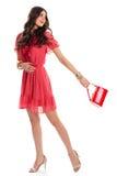 Frau im kurzen Kleiderlächeln Stockfotografie