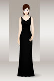 Frau im langen schwarzen Abendkleid Lizenzfreie Stockbilder