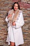 Frau im Luxusluchspelzmantel Stockbild
