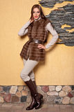 Frau im Luxuxpelz-Mantel Lizenzfreie Stockfotografie