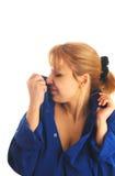 Frau im Mannhemd Lizenzfreie Stockbilder