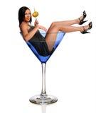 Frau im Martini-Glas Stockfoto