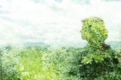 Frau im Mehrfachbelichtungsporträt als Kunstphotographie Stockfotografie