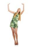 Frau im modernen grünen Minikleid an lokalisiert Lizenzfreie Stockfotos