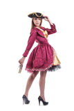 Frau im Piratenkarnevalskostüm mit Pistole Lizenzfreies Stockbild