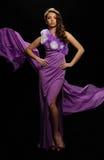 Frau im purpurroten Kleid Lizenzfreies Stockfoto