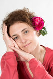 Frau im Rosa stockfotografie