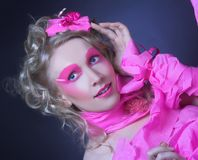 Frau im Rosa. Stockfoto