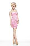 Frau im rosafarbenen Kleid Stockfoto