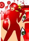 Frau im roten Art- und Weiseeinklebebuch vektor abbildung