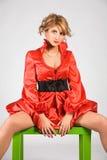 Frau im roten Kleid Stockbild