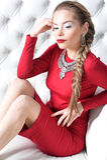 Frau im roten Kleid Lizenzfreie Stockfotos