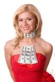 Frau im roten Kleid mit Dollar. lizenzfreies stockbild