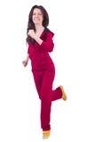Frau im roten Kostüm, das Übungen tut Stockfoto
