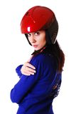 Frau im roten Motorradsturzhelm. stockfoto