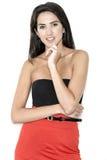 Frau im roten Rock Lizenzfreies Stockfoto