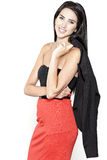 Frau im roten Rock Stockbilder