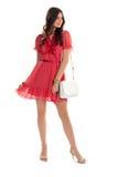 Frau im roten Vhalskleid Lizenzfreie Stockfotografie