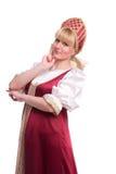 Frau im russischen traditionellen Kostüm Stockfotografie