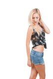 Frau im Schädelt-shirt Stockbilder