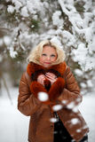 Frau im Schneewinterwald Lizenzfreies Stockbild