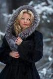 Frau im Schneewinterwald Stockfotos