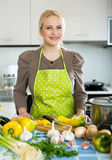 Frau im Schutzblech an der Küche Lizenzfreies Stockfoto