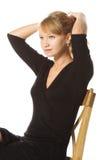 Frau im schwarzen bildenpferdeschwanz lizenzfreie stockbilder