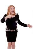 Frau im schwarzen Kleid lokalisiert auf Weiß Stockbilder