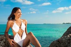 Frau im Strand stockbilder