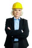 Frau im Sturzhelm Stockfotos