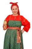 Frau im traditionellen Stoff Stockbild