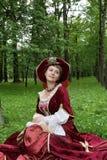 Frau im Victoriankleid Stockbild