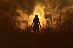 Frau im Wald verloren lizenzfreie abbildung