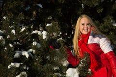 Frau im Wald am Winter Lizenzfreies Stockfoto