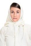 Frau im Weiß Stockfotografie