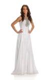 Frau im weißen Kleid lizenzfreies stockbild
