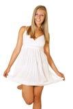 Frau im weißen Kleid getrennt Lizenzfreie Stockfotos