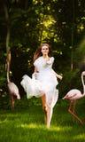 Frau im weißen Kleid und im rosa Flamingo Stockfotos