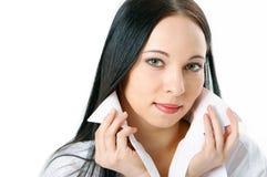 Frau im weißen Hemd Lizenzfreie Stockbilder