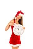 Frau im Weihnachtsmann-Kostüm Stockbilder