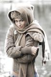 Frau im Winter Stockfotografie